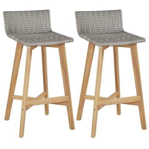 Krzesła barowe, 2 szt., polirattan i akacja, 40x45x90 cm
