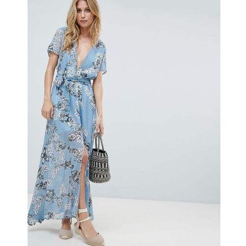 PrettyLittleThing Floral Maxi Dress - Blue, kolor niebieski