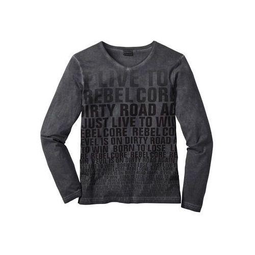 Shirt z długim rękawem slim fit antracytowy z nadrukiem marki Bonprix