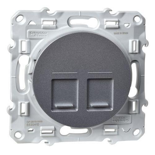Schneider Płytka centralna 2xrj45 odace s530410 aluminium (3606480160455)