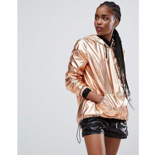 over head metallic anorak - copper, New look
