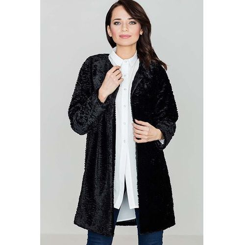Czarna elegancka futrzana kurtka bez zapięcia, Katrus, 36-42