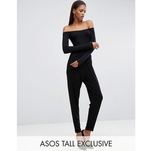 ASOS TALL Bardot Peg Leg Jersey Jumpsuit with Long Sleeve - Black