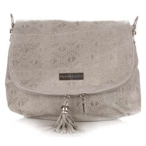 82620439c6b50 Włoskie torebki listonoszki skórzane firmy jasno szare (kolory) marki Vittoria  gotti
