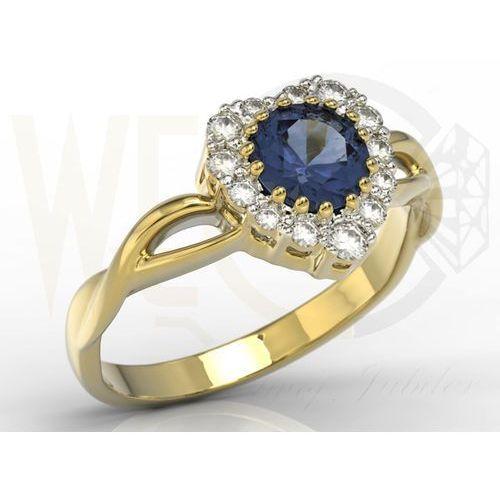 Węc - twój jubiler Pierścionek w kształcie serca z żółtego złota z szafirem i cyrkoniami ap-77z-c