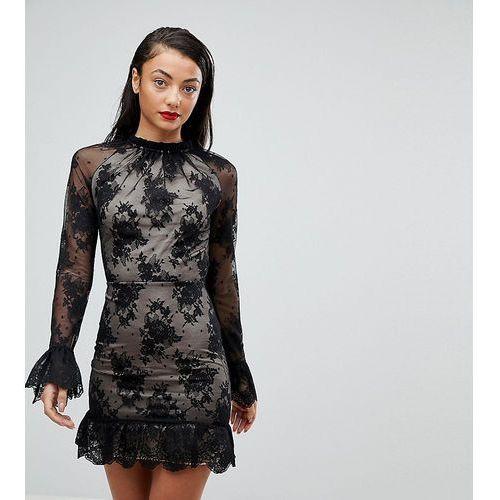 Asos tall high neck open back lace mini dress - black