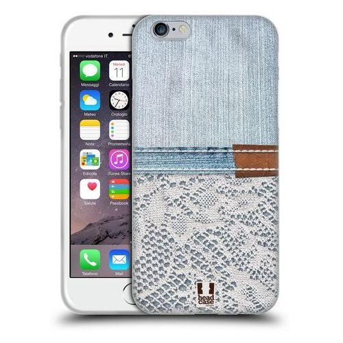 Etui silikonowe na telefon - Jeans and Laces WHITE LACE ON LIGHT DENIM, kolor biały