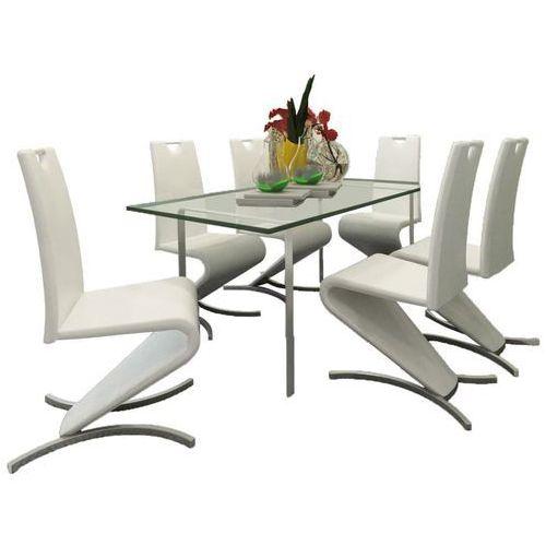 Krzesła wspornikowe do jadalni, 6 szt., sztuczna skóra, białe