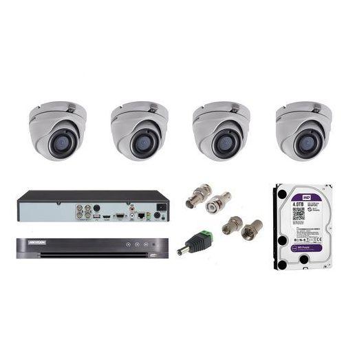 Hikvision Ds-2ce56d8t-itme zestaw do monitoringu 4 kamery kopułowe
