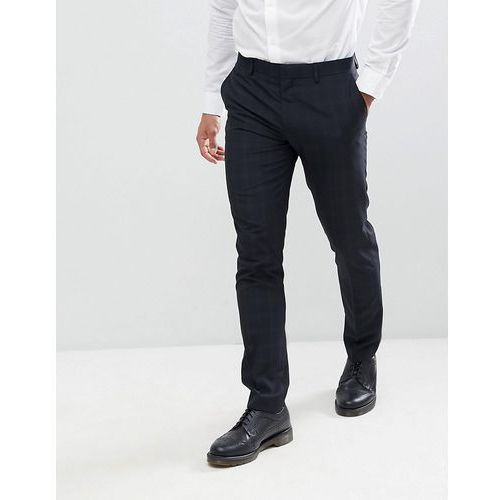 River island wedding skinny fit check suit trousers in navy - navy