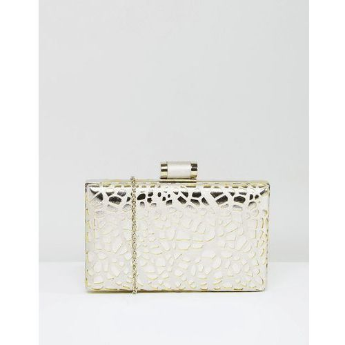 Chi Chi London Box Clutch Bag In Cutwork Metallic - Silver