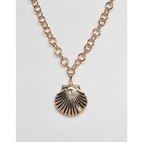 oversized shell pendant neckace - gold marki Designb london
