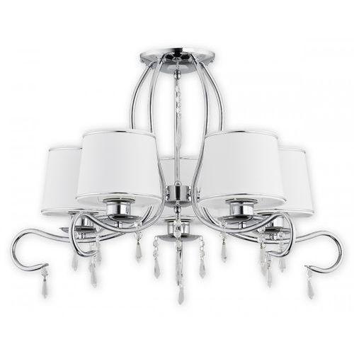 Lemir Barsa O2475 W5 CH plafon lampa sufitowa żyrandol 5x60W E27 chrom / biały, kolor Srebrny