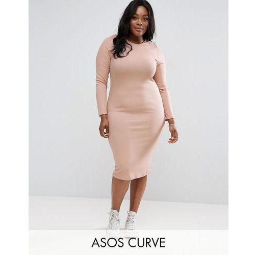 ASOS CURVE Midi Bodycon Dress in Rib with Long Sleeves - Pink