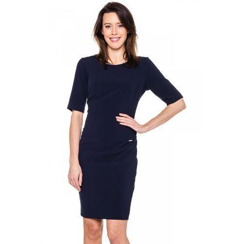 Granatowa, dopasowana sukienka - marki Carmell