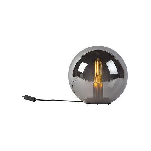 Lampa stołowa art deco czarna przydymione szkło 25cm - pallon bulla marki Honsel