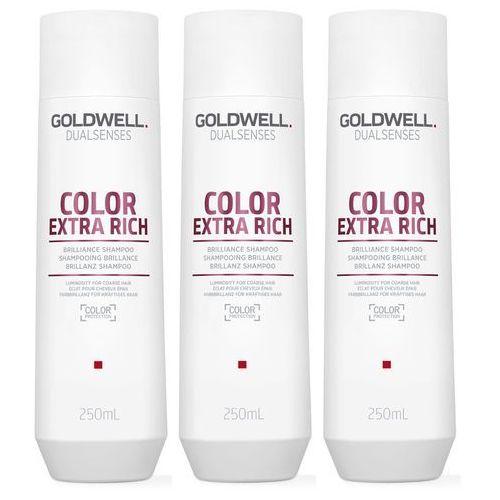 dualsenses color extra rich   zestaw: szampon do włosów farbowanych 3x250ml marki Goldwell