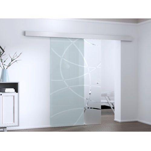 Vente-unique Naścienne drzwi przesuwne heidi — 205 × 93 cm (wys. × szer.) — szkło hartowane