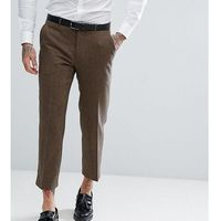 Heart & dagger straight leg cropped trouser in tweed - brown