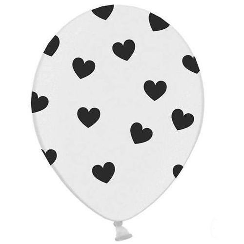 Twojestroje.pl Balon lateksowy biały w czarne serduszka 30 cm 1szt.