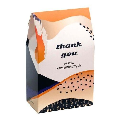 Zestaw kaw smakowych THANK YOU – uniwersalny i gustowny prezent, upominek, podarunek z kawą smakową w saszetkach 10x10g. Niecodzienny pomysł na podziękowanie.