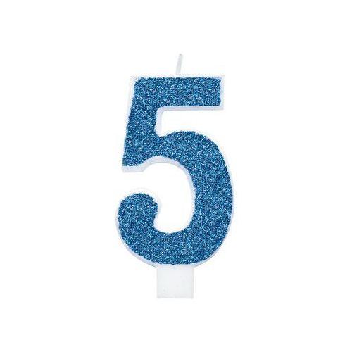Świeczka cyferka brokatowa niebieska - 5 - 1 szt. marki Unique