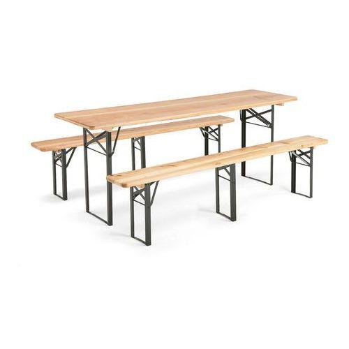 Stół z 2 ławkami, 2000x600 mm, sosna, zielony marki Aj produkty