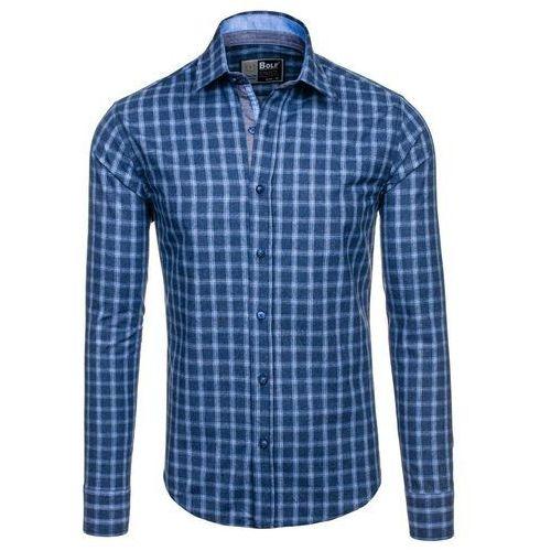 Granatowa koszula męska w kratę z długim rękawem Bolf 6913 - GRANATOWY, kolor niebieski