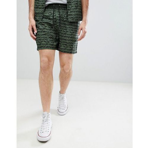 co-ord khaki print viscose shorts - green, Another influence