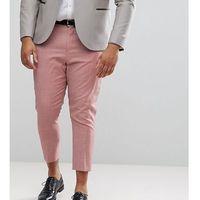 ASOS PLUS WEDDING Tapered Smart Trousers In Pink 100% Wool - Pink, kolor różowy