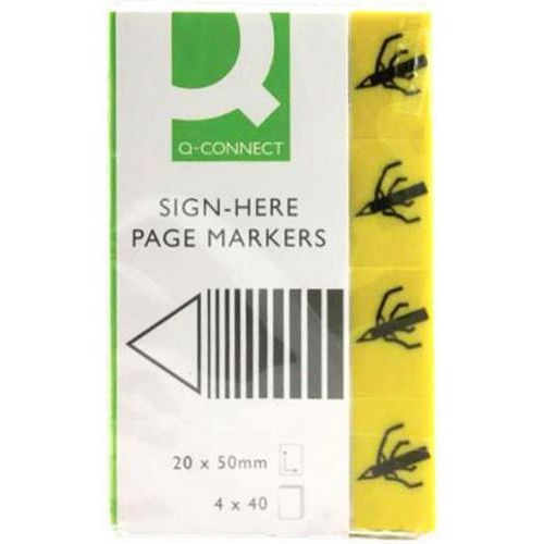 Q-connect Zakładki indeksujące sign-here, papier, 20x45mm, 4x40 kart., żółty (5705831019799)