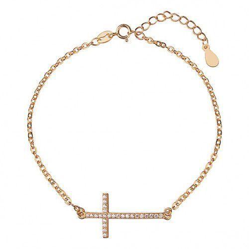 Bransoletka celebrytek pr. 925 krzyżyk z cyrkoniami, złocona, URZ0949G