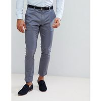 Burton Menswear Skinny Smart Trouser With Belt In Blue Sateen - Blue, kolor niebieski