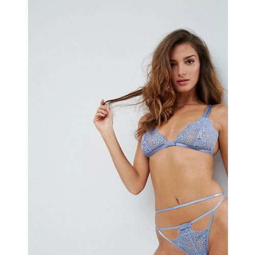 valentina corded lace triangle bra - blue marki Asos