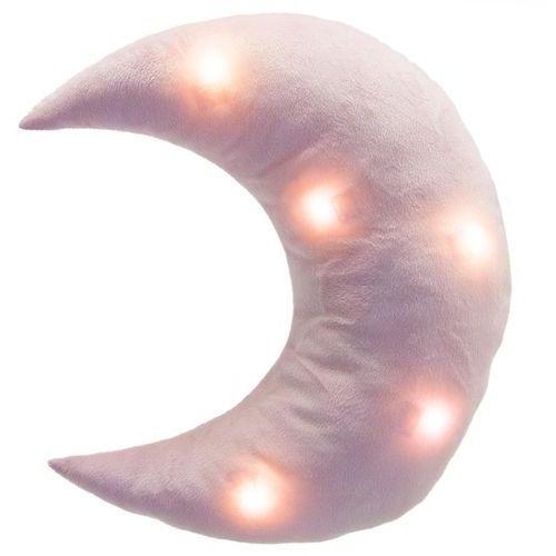 Świecąca poduszka MOON - miękka poduszka z LED, kolor różowy, 32 x 37 cm