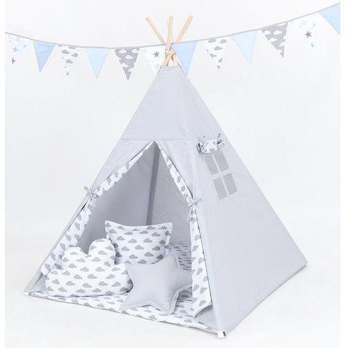 namiot tipi z matą i poduszkami popiel / chmurki szare na bieli marki Mamo-tato