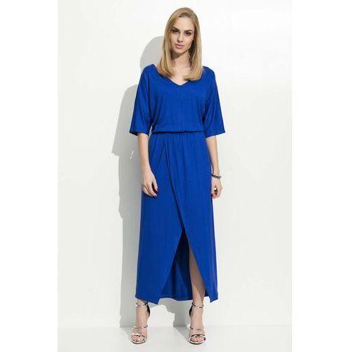 Chabrowa Maxi Sukienka z Zakładanym Dołem, w 2 rozmiarach