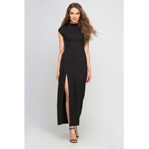 Długa Czarna Sukienka ze Stójką z Rozcięciem na Boku, w 6 rozmiarach