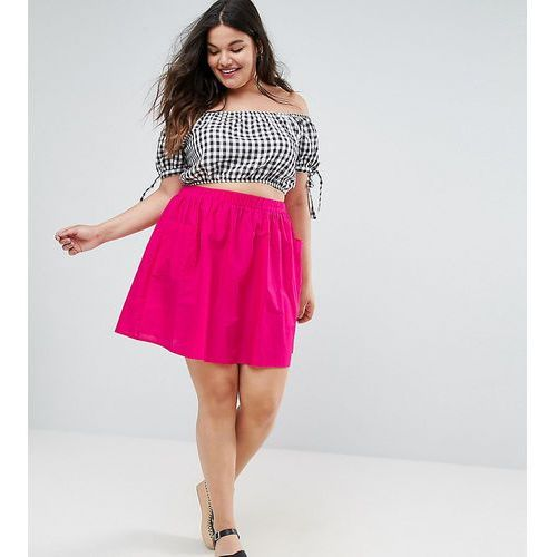 Asos curve mini skater skirt in cotton poplin with pockets - pink