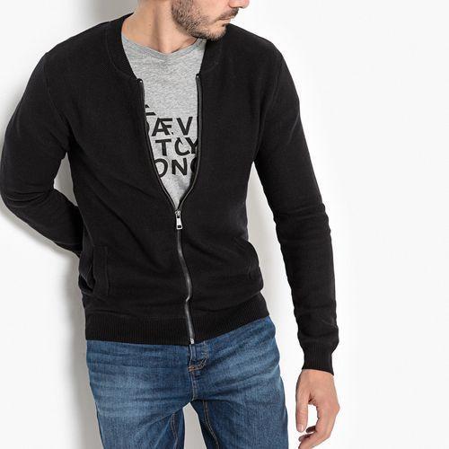 Sweter na suwak z kołnierzem teddy 100 % bawełny marki La redoute collections