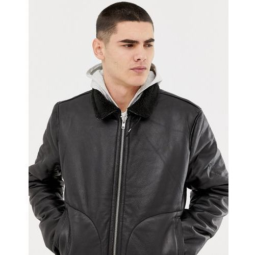 leather aviator jacket with borg lining in black - black marki Bellfield