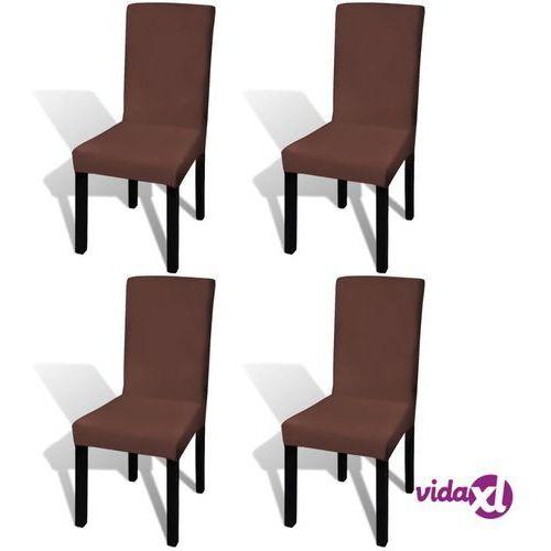 Vidaxl elastyczne pokrowce na krzesła w prostym stylu brąz 4szt. (8718475978800)