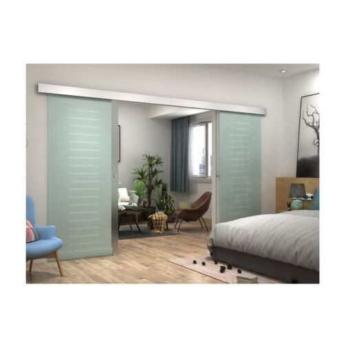Dwuskrzydłowe drzwi przesuwne astana – wys. 205 × dł. 166 cm – szkło hartowane marki Vente-unique