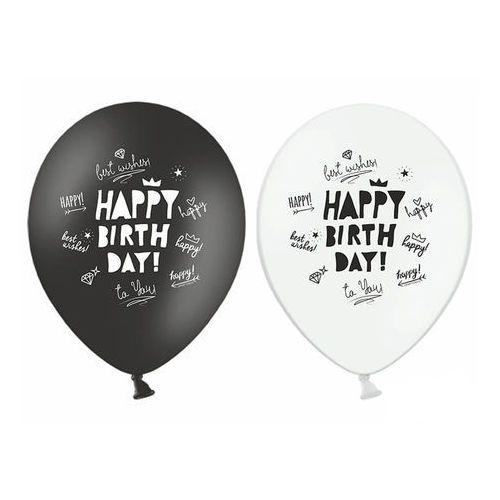 Party deco Balony z nadrukiem happy birthday czarne i białe - 30 cm - 50 szt.