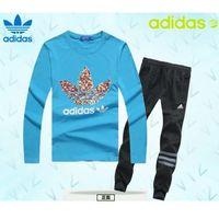 Dresy Adidas Bluza Niebieska (czerwone/białe logo), Spodnie Czarne/szare PF13554, dresowe
