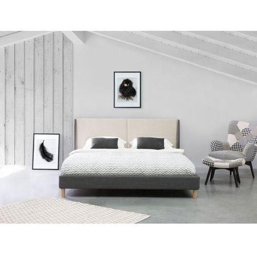 Beliani Łóżko szaro-beżowe - 160x200 cm - łóżko tapicerowane - valence (7105274791609)