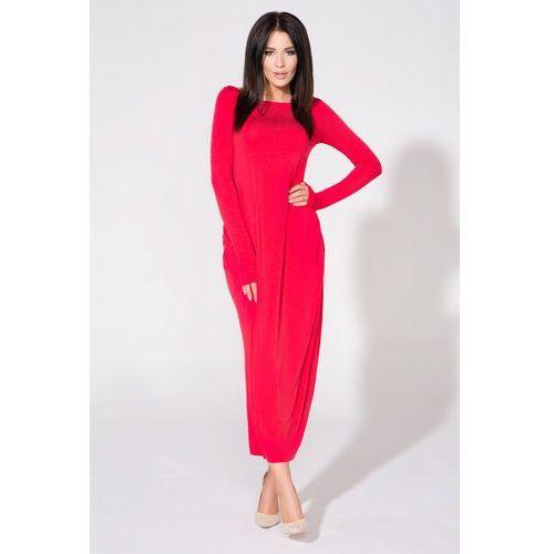 Czerwona sukienka dzianinowa maxi drapowana na boku, Tessita, 36-44