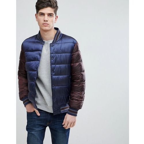 man quilted bomber with contrast sleeves and hood in navy - navy, Mango