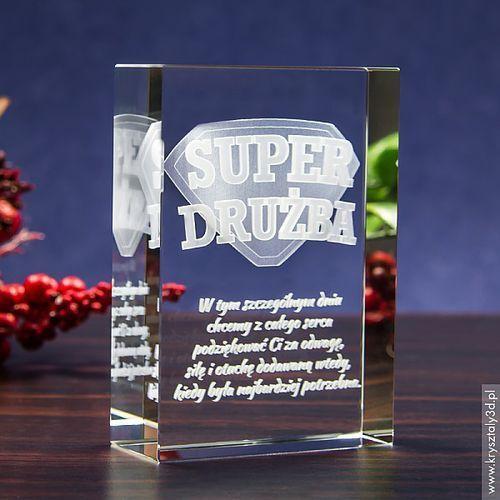 Odznaka 3D »Super Drużba« • personalizowany kryształ 3D • GRAWER 3D