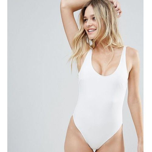 white textured gold zip swimsuit b-f cup - white marki Wolf & whistle